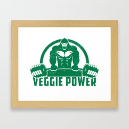 Veggie Power Vegan Muscle Gorilla - Funny Workout Quote Gift Framed Art Print