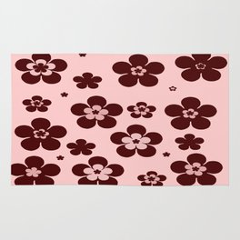 Pink with brown flowers Rug