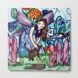 Garden Of The Blue Cat Fairy Metal Print