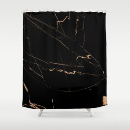 Black golden lined marble Shower Curtain