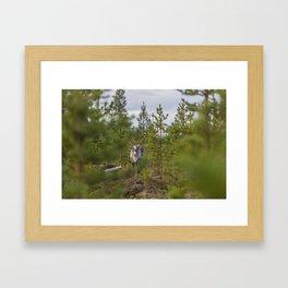 forest reindeer Framed Art Print
