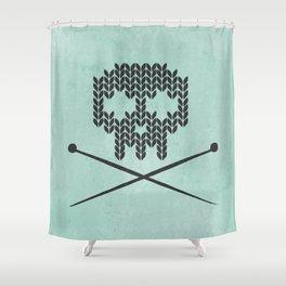 Knitted Skull / Knitting with Attitude (black on vintage aquamarine) Shower Curtain