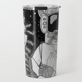 Girl with Ancient Astronaut Travel Mug
