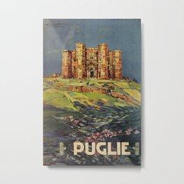 Apulia Castle del Monte vintage Italian travel ad Metal Print
