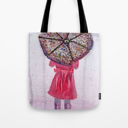 Girl in Purple Wellies Tote Bag