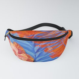 orange blue toned tropical flowers and leaves on marble abstract background Fanny Pack