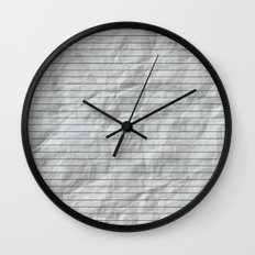 Crumpled Lined Paper Wall Clock
