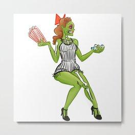 Zombie Girl Choices Metal Print