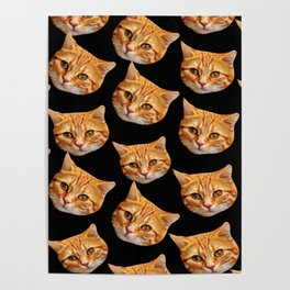 cute black and orange cat pattern Poster