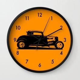 Classic American Thirties Hot Rod Car Silhouette  Wall Clock
