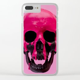 Pink Dripping Skull Clear iPhone Case