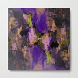 Abstract Nature - Textured, blue, yellow, pink, lilac, purple, black and orange painting Metal Print