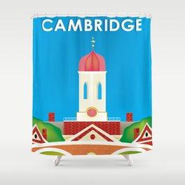Cambridge, Massachusetts - Skyline Illustration by Loose Petals Shower Curtain