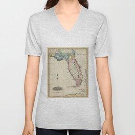 Vintage Map of Florida (1823) Unisex V-Neck