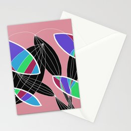 4 colors Organic objects on Pink - White Lines Stationery Cards