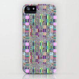 Glitch effect psychedelic background. iPhone Case
