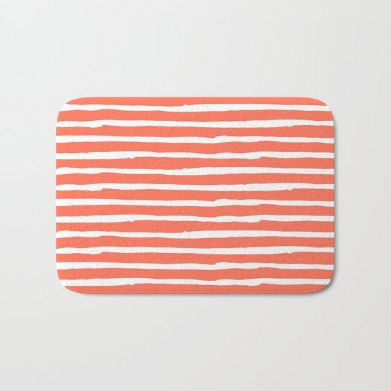 Thin Stripes White on Deep Coral Bath Mat