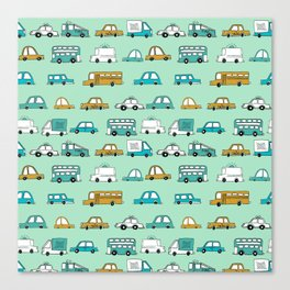Cars trucks buses city highway transportation illustration cute kids room gifts Canvas Print