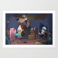 gravity falls Art Prints featuring Gravity Falls  by Steven Ray Brown