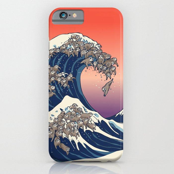 the great wave of sloth iphone case
