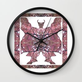 Horned Man V2 cut from Tree Leaf Photo 801 Fractal, with wings and hoofed feet. Wall Clock