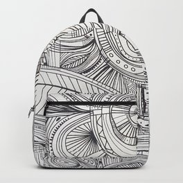 Hand drawn black white pencil zentangle floral Backpack