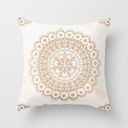 Cream gold mandala and marble Throw Pillow