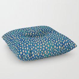 Handmade polka dot brush strokes (orange and blue) Floor Pillow