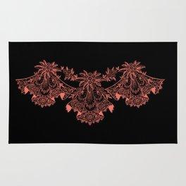 Vintage Lace Hankies Black and Peach Echo Rug