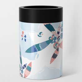 Abstract blue and pink feathers Can Cooler