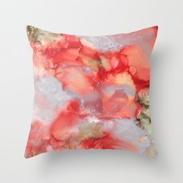 Alcohol Ink 'Big Red' Throw Pillow