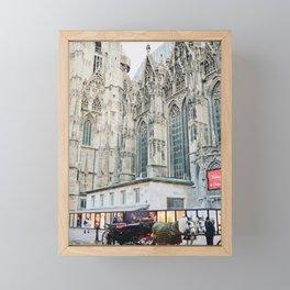Horse Carriage Church Vienna Austria Framed Mini Art Print