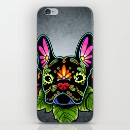 French Bulldog in Black - Day of the Dead Bulldog Sugar Skull Dog iPhone Skin