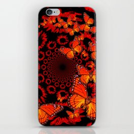 Awesome Decorative Monarch Butterflies on Black iPhone Skin