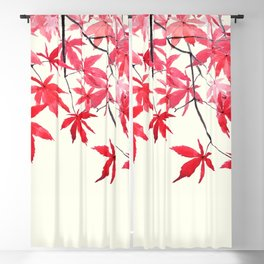 red maple leaves watercolor painting Blackout Curtain
