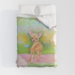 Chihuahua in the rose garden Comforters