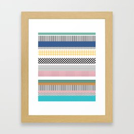 Mixed Pattern Stripe Print Color Blocking Framed Art Print