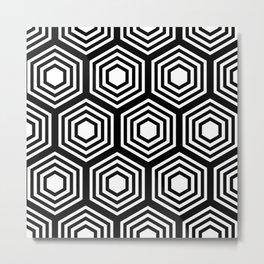 Monochrome Hex Metal Print