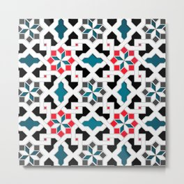 Oriental Pattern - Geometric Design, red / blue / grey Metal Print
