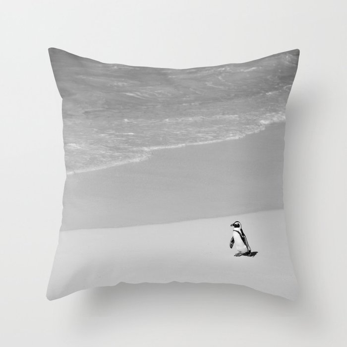 Lone African Penguin walking on beach Throw Pillow