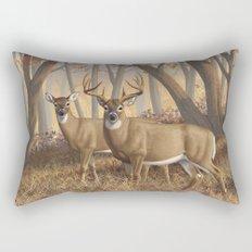 Whitetail Deer Trophy Buck and Doe in Autumn Rectangular Pillow
