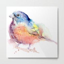 Red Sparrow, Watercolor Artwork, Handmade Painting, Illustration Metal Print