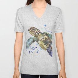 Abstract Watercolor Sea Turtle on White 2 Minimalist Coastal Art - Coast - Sea - Beach - Shore Unisex V-Neck