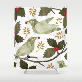 Birds and Holly in Greens, Golds and Red Shower Curtain