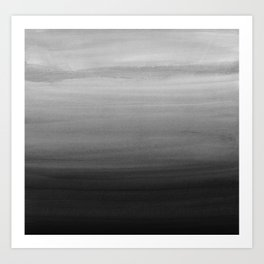 Touching Black Gray White Watercolor Abstract #1 #painting #decor #art #society6 Art Print