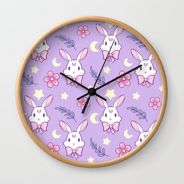Sakura Bunny // Purple Wall Clock