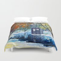 fandom Duvet Covers featuring Starry Winter blue phone box Digital Art iPhone 4 4s 5 5c 6, pillow case, mugs and tshirt by Three Second