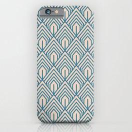 Modern Peach Blue Geometric Abstract Pattern iPhone Case