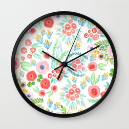 Peonies and Poppies Wall Clock