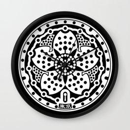 Tokyo Sakura Manhole Cover Wall Clock